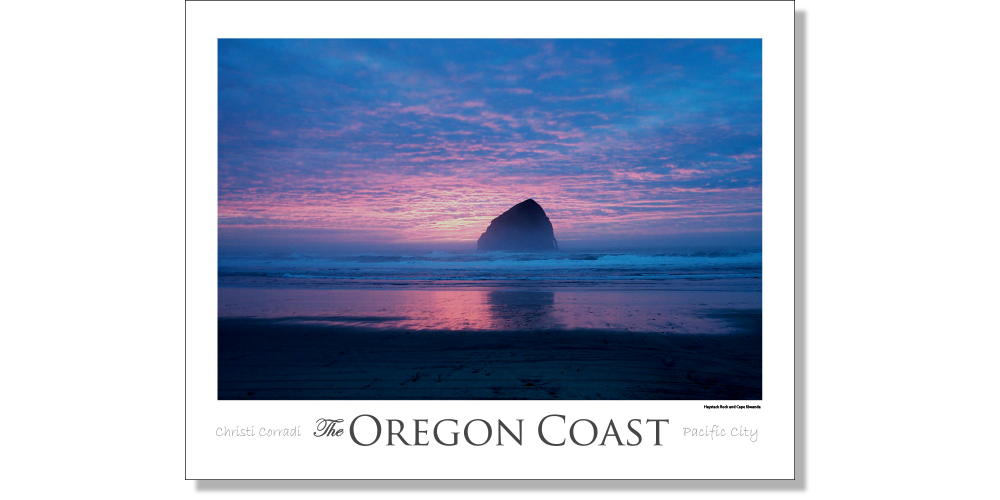 Pacific City - Haystack Rock [Blue] - Christi Corradi