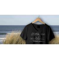Shore Birds No.1 V-Neck Black by Rod Whaley