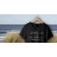 Shore Birds No.1 V-Neck Black by Rod Whaley