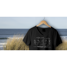 Shore Birds No.4 V-Neck Black by Rod Whaley