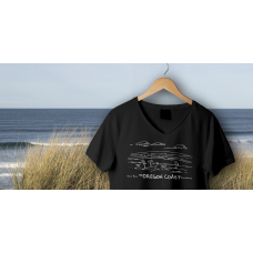 Shore Birds No.7 V-Neck Black by Rod Whaley