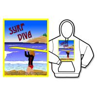 Surf Diva Poster Hoodie
