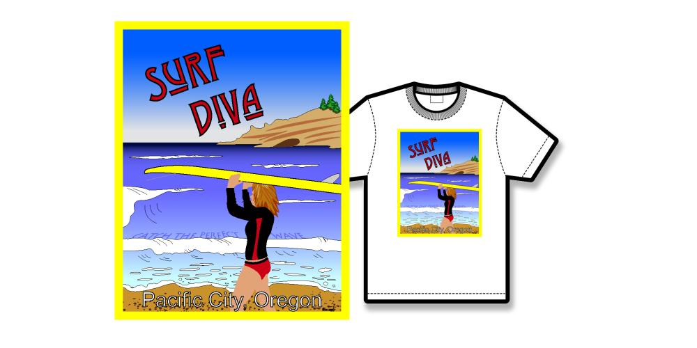 Surf Diva Poster Tee Shirt