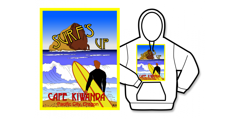Surf's Up Poster Hoodie